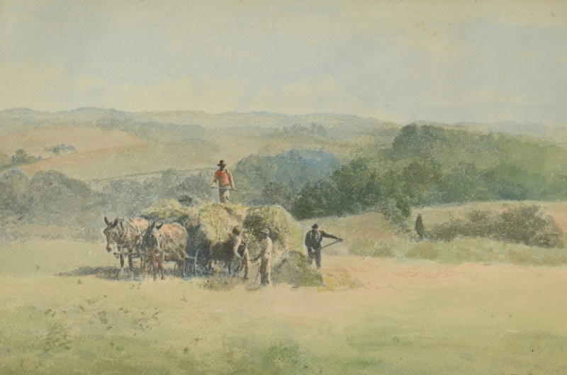 Lot 680: Charles Mortimer Thompson Watercolor Farming Scene