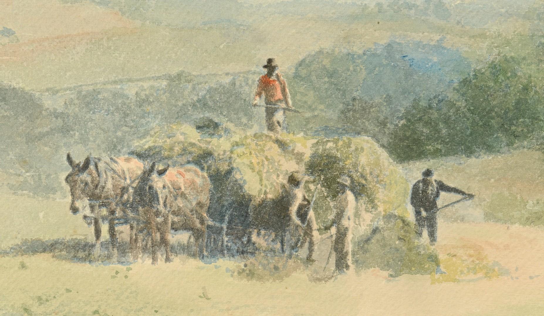 Lot 680: Charles Mortimer Thompson Watercolor Farming Scene