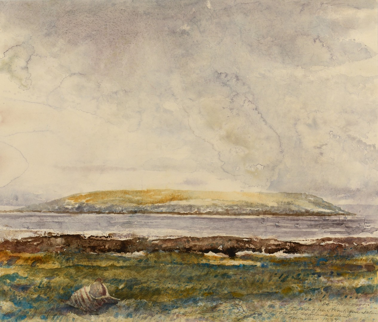 Lot 681: Carl Sublett Watercolor of Maine Islands
