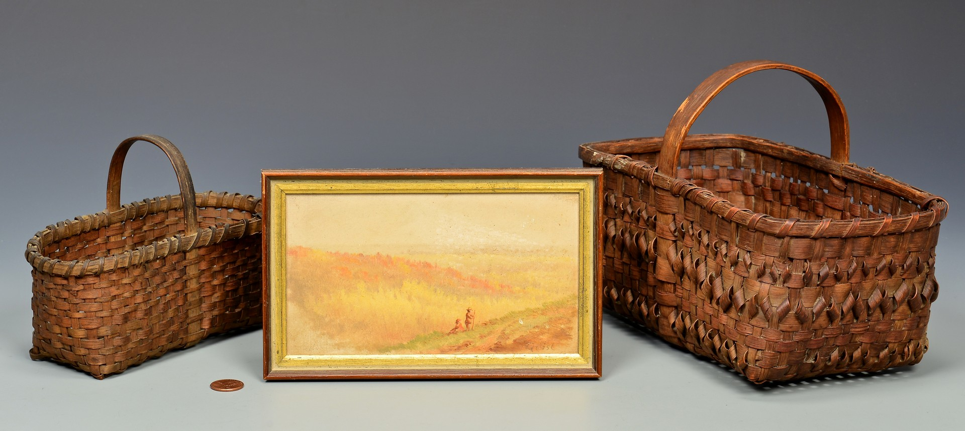 Lot 684: Thomas Campbell small oil & 2 early carrying baske