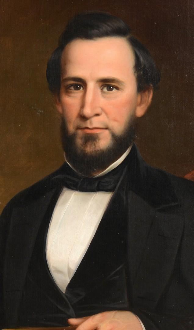 Lot 695: Oil on Board Portrait of Dr. Menees, MD