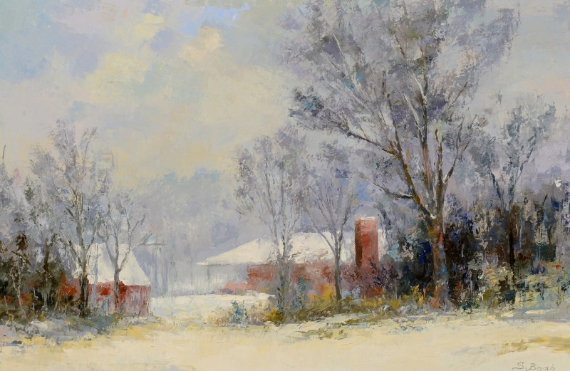 Lot 697: Sandor Bodo O/C, Winter Landscape