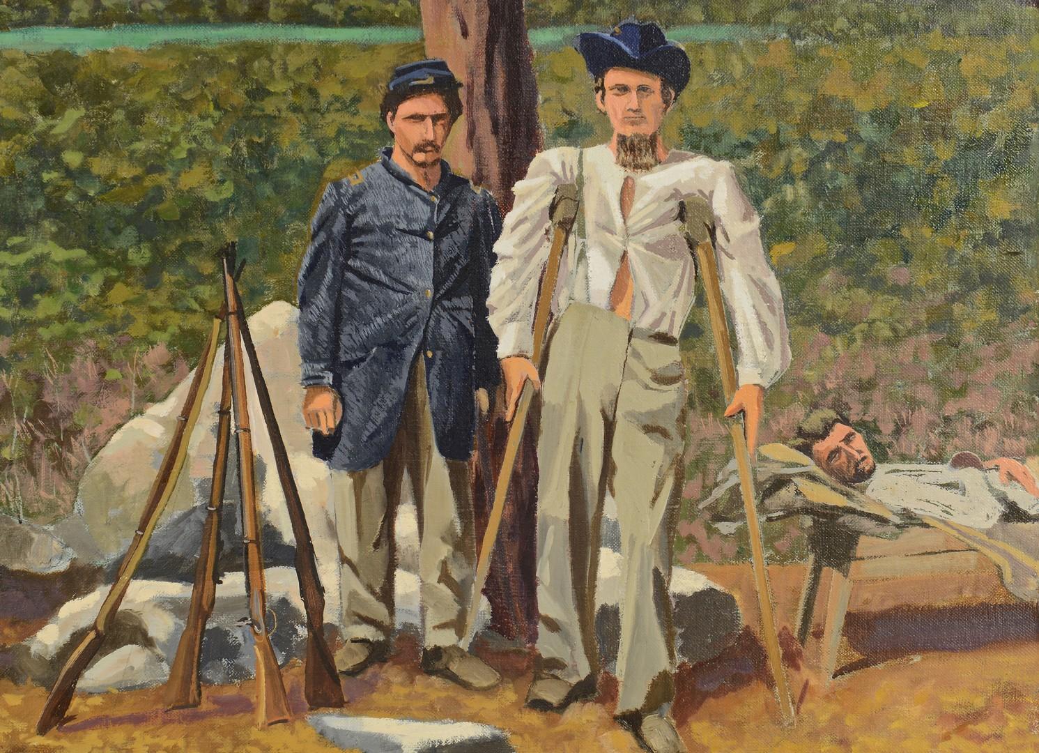 Lot 698: Joseph Kabriel Oil on canvas, Civil War Scene