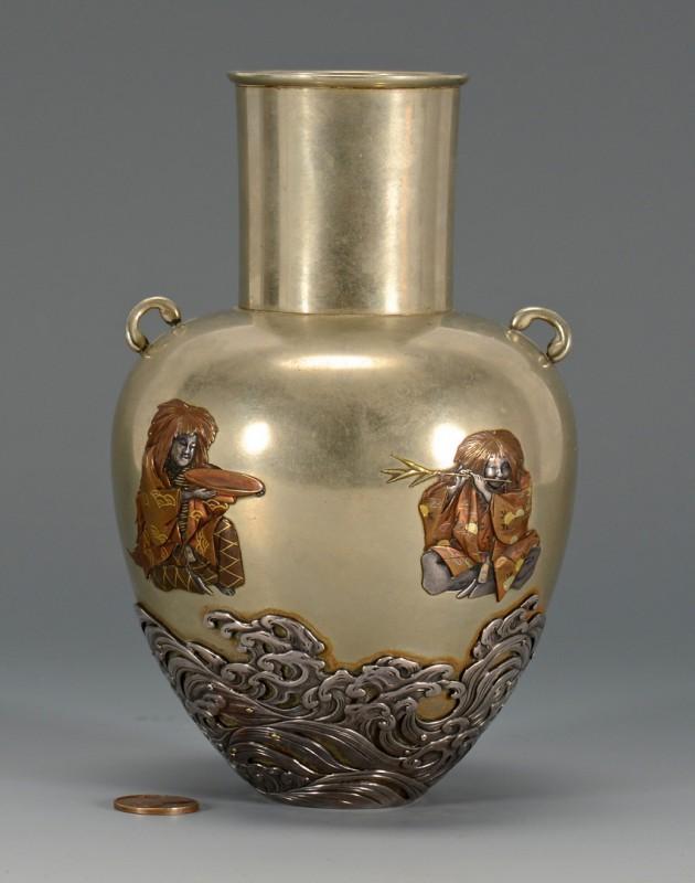 Lot 6: Japanese Meiji Mixed Metals Vase