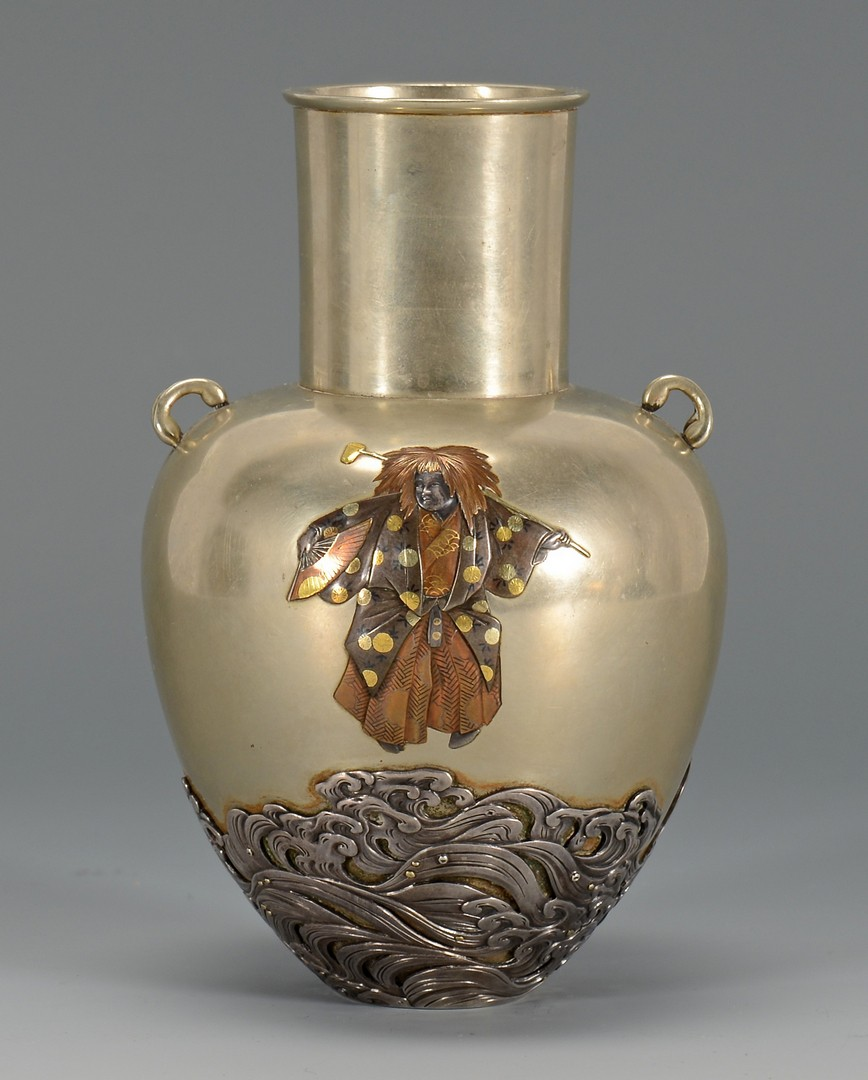 Lot 6: Japanese Meiji Mixed Metals Vase