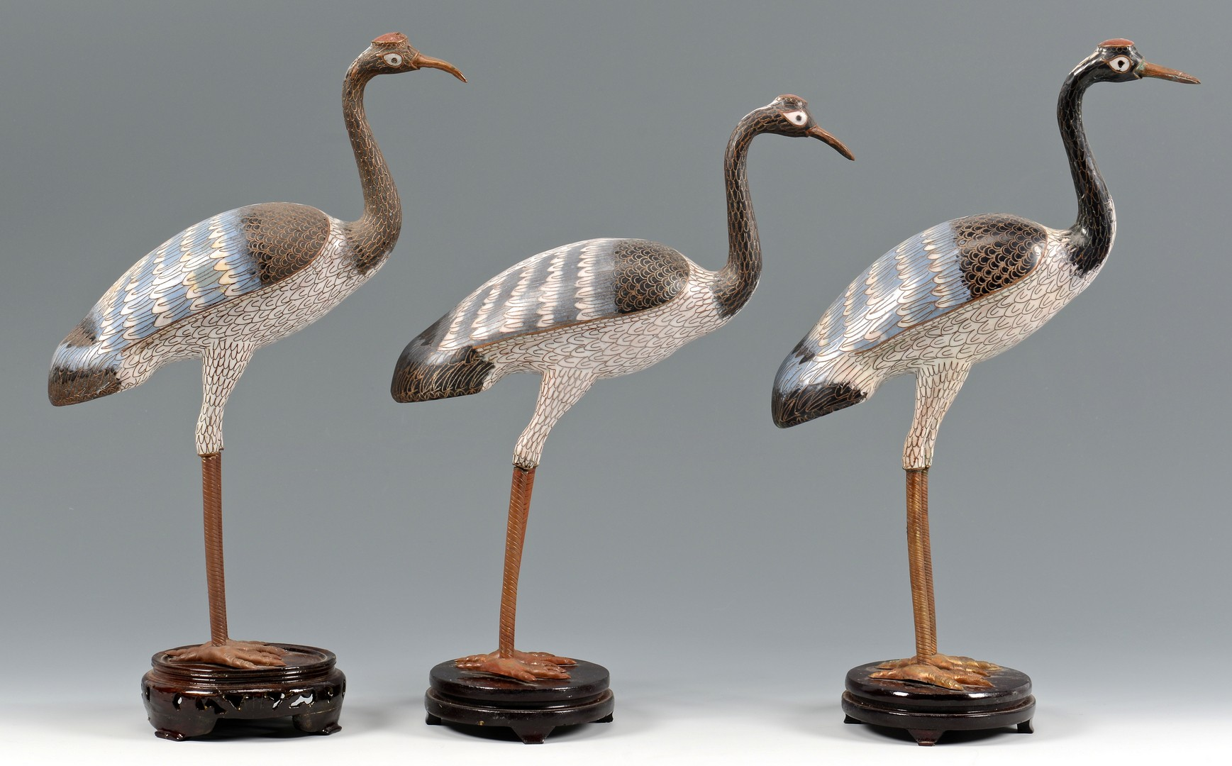 Lot 702: 8 Chinese Cloisonne Cranes