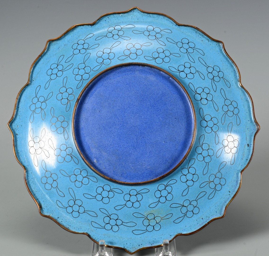 Lot 703: Cloisonne Plate and World's Fair Peacock Ewer