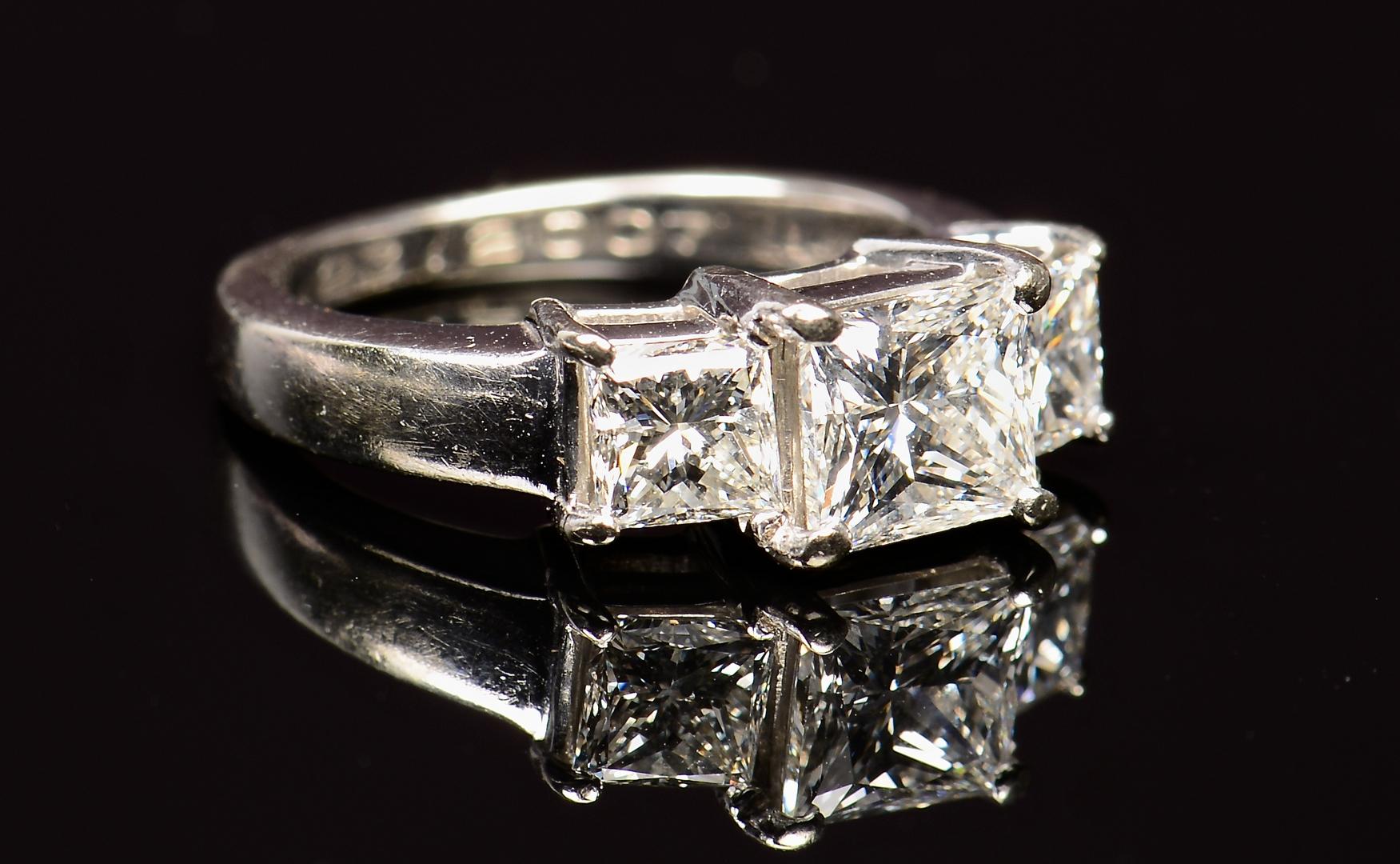 Lot 70 14k 3 Stone Princess Cut Dia Ring Gia Report