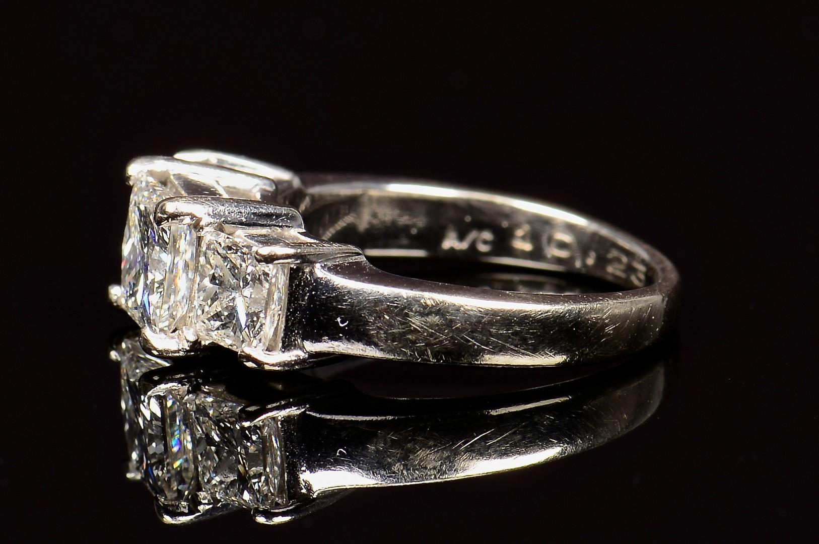 Lot 70: 14k 3-stone Princess cut dia ring, GIA Report