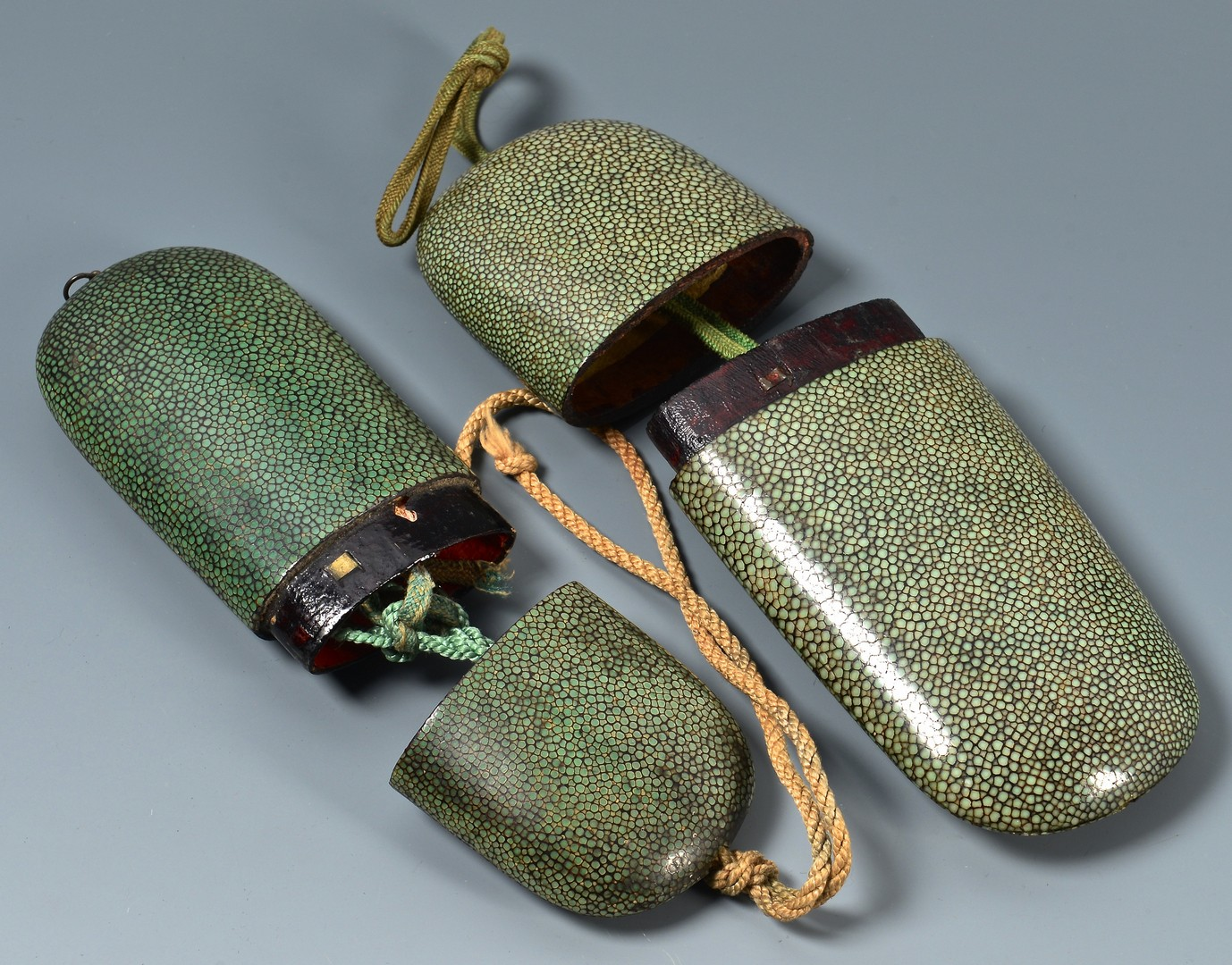 Lot 710: Misc. Asian items inc. Shagreen Cases