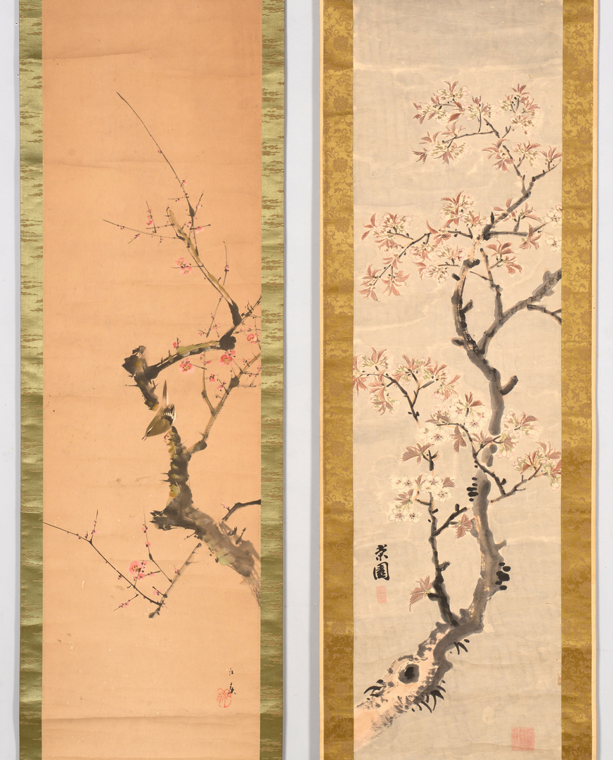 Antique Japanese Scroll: Lot 715: Group Of 4 Japanese Scroll Paintings, Nature Theme