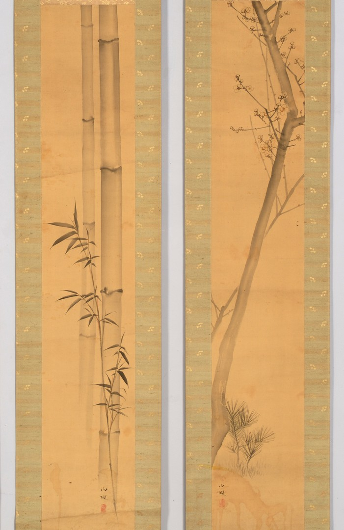 Lot 715: Group of 4 Japanese Scroll Paintings, Nature Theme