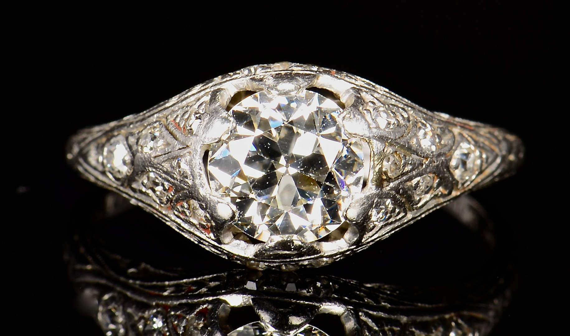 Lot 71: 1.25 ct OMC Vintage Platinum Set