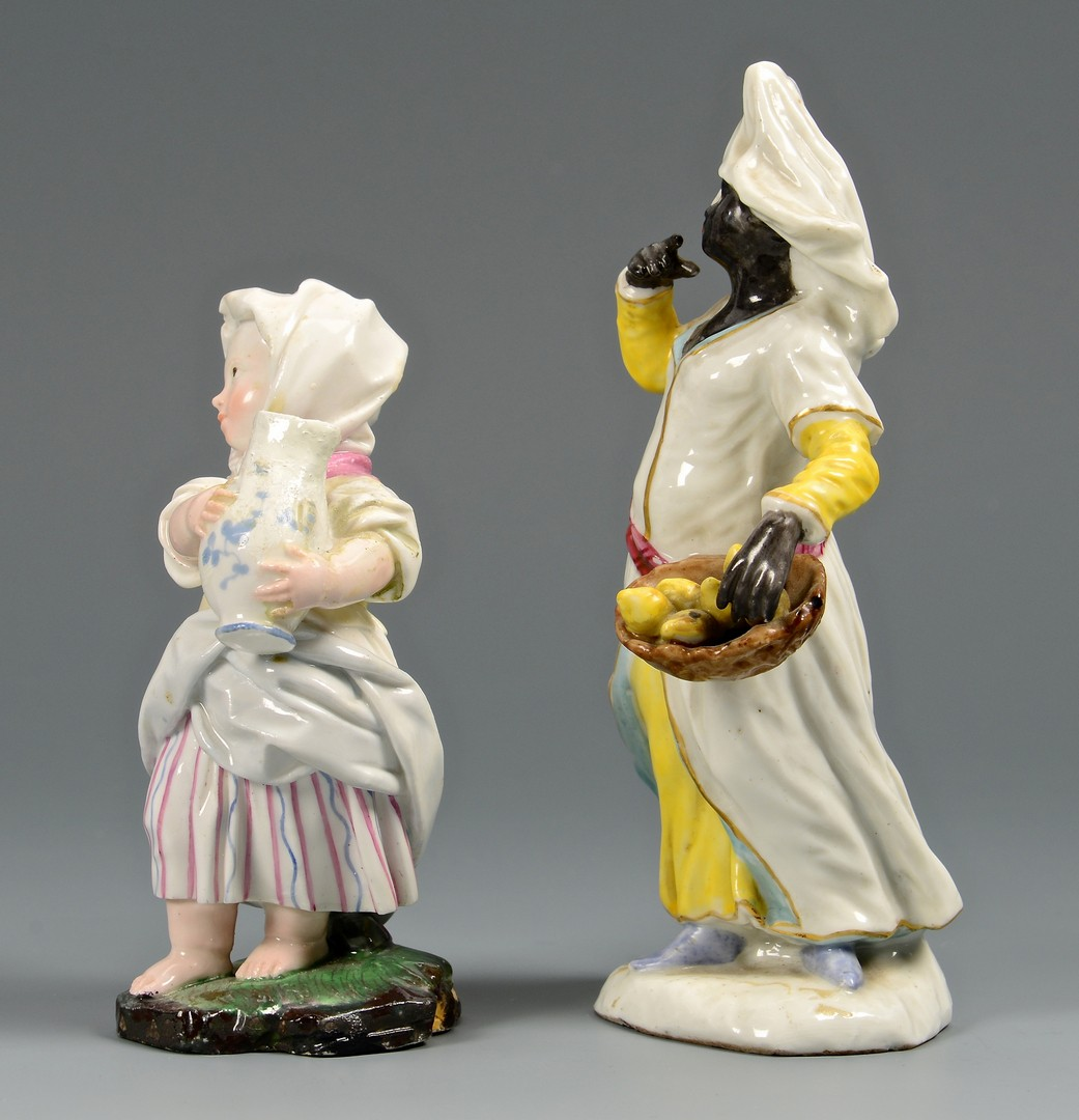 Lot 721: 2 German Porcelain Figurines and 1 Meissen Putto C