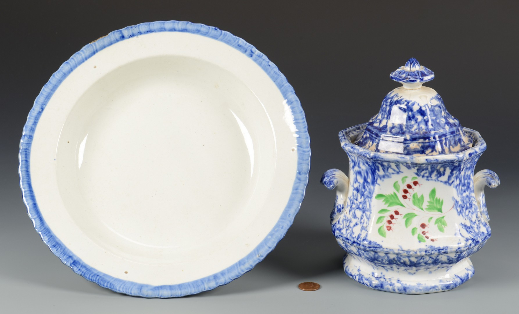 Lot 724: Spatterware Sugar Bowl & Leeds Feather Bowl