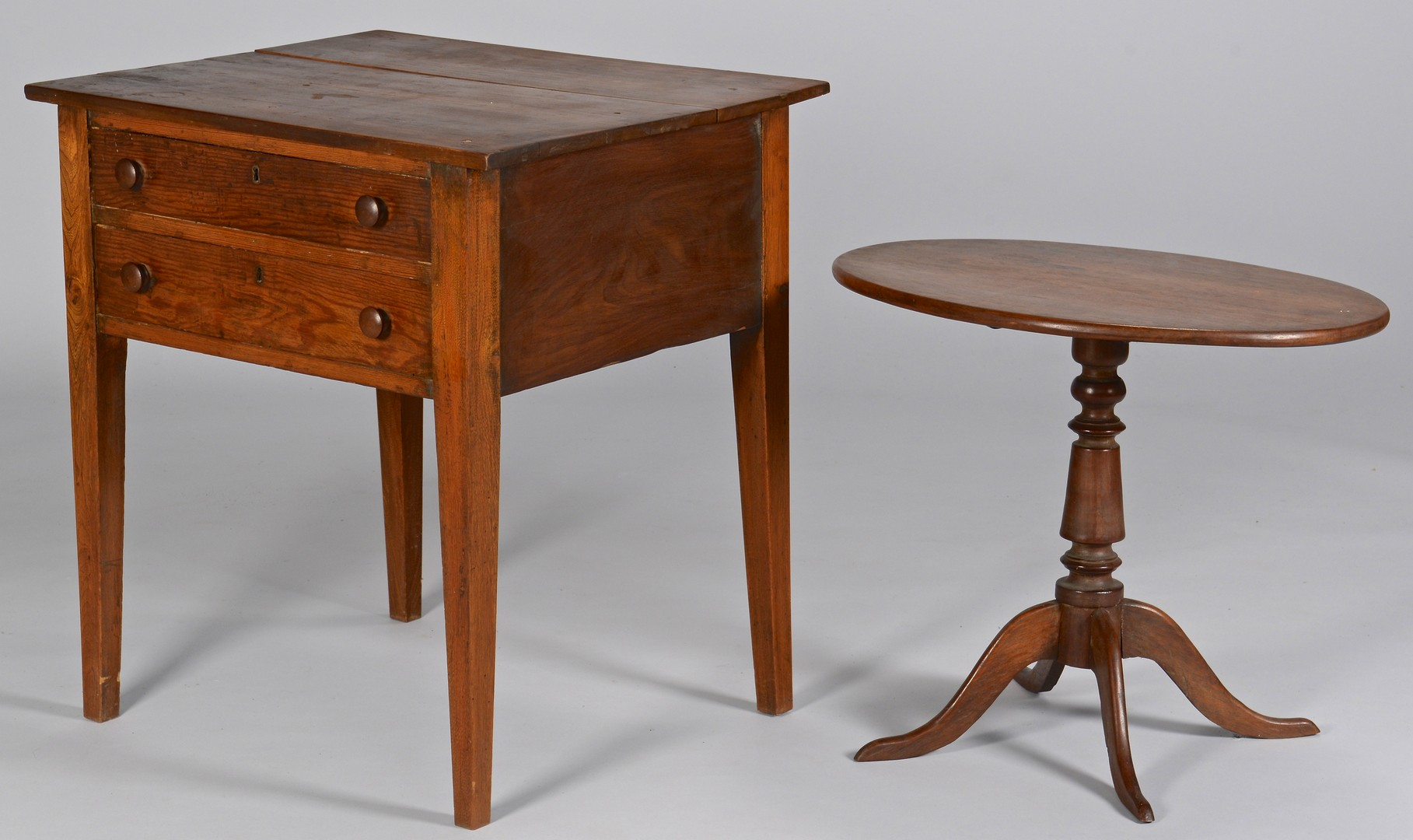 Lot 732: East TN 2 Drawer Stand & Oval Tilt-top Table