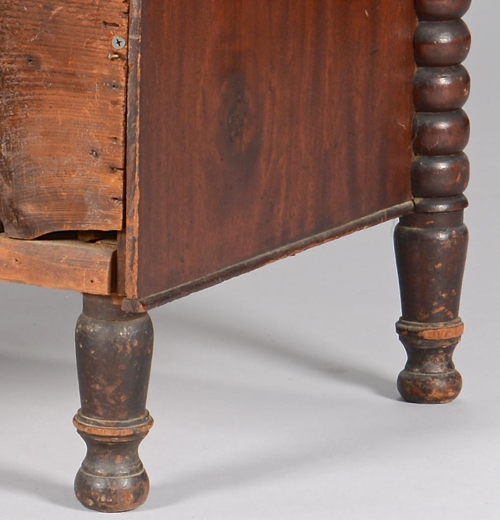 Lot 738: Small Mahogany Chest, ring turned pilasters