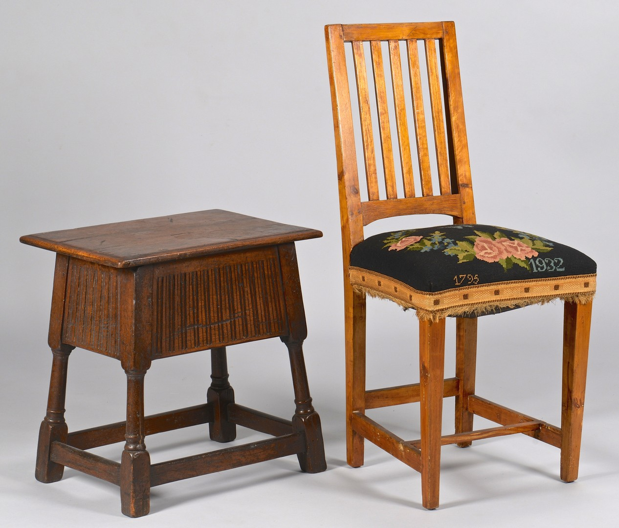 Lot 739: Jacobean Hinged Stool & English Side Chair