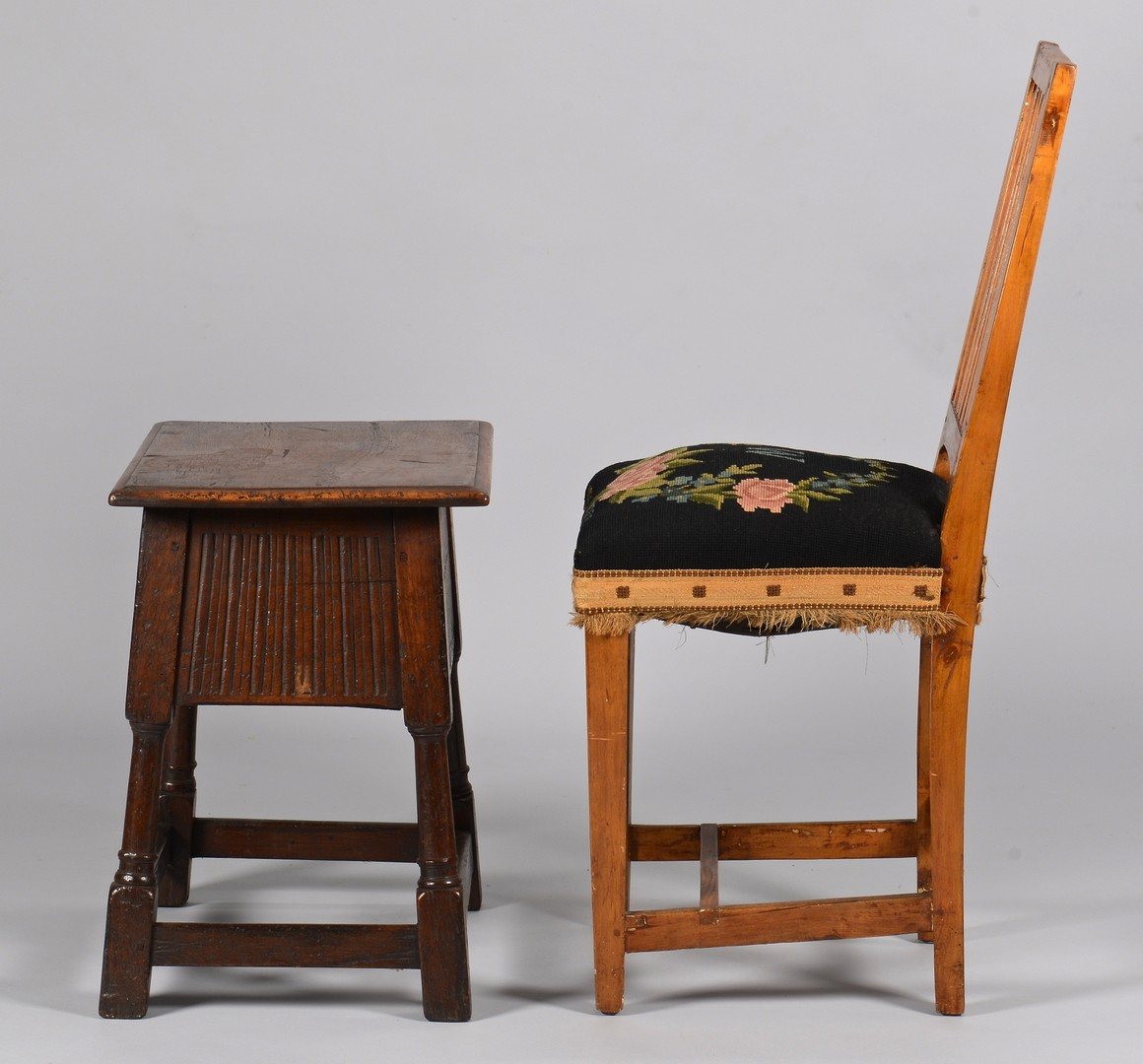 Lot 739: Jacobean Hinged Stool & English Side Chair