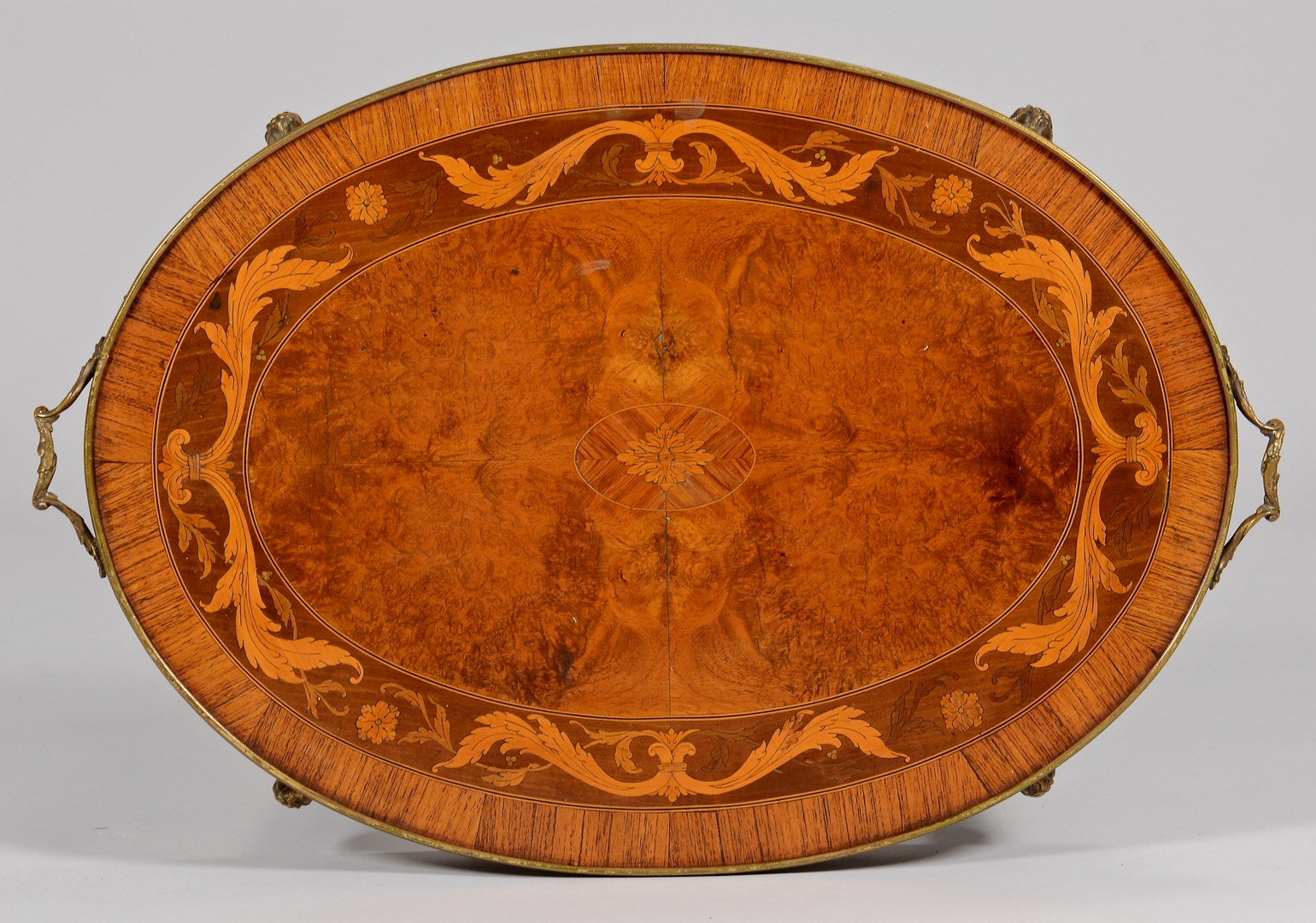 Lot 740: Bronze mounted Marquetry Table