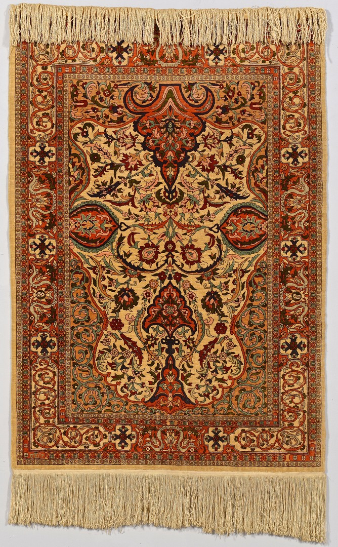 Lot 747: Persian silk prayer rug