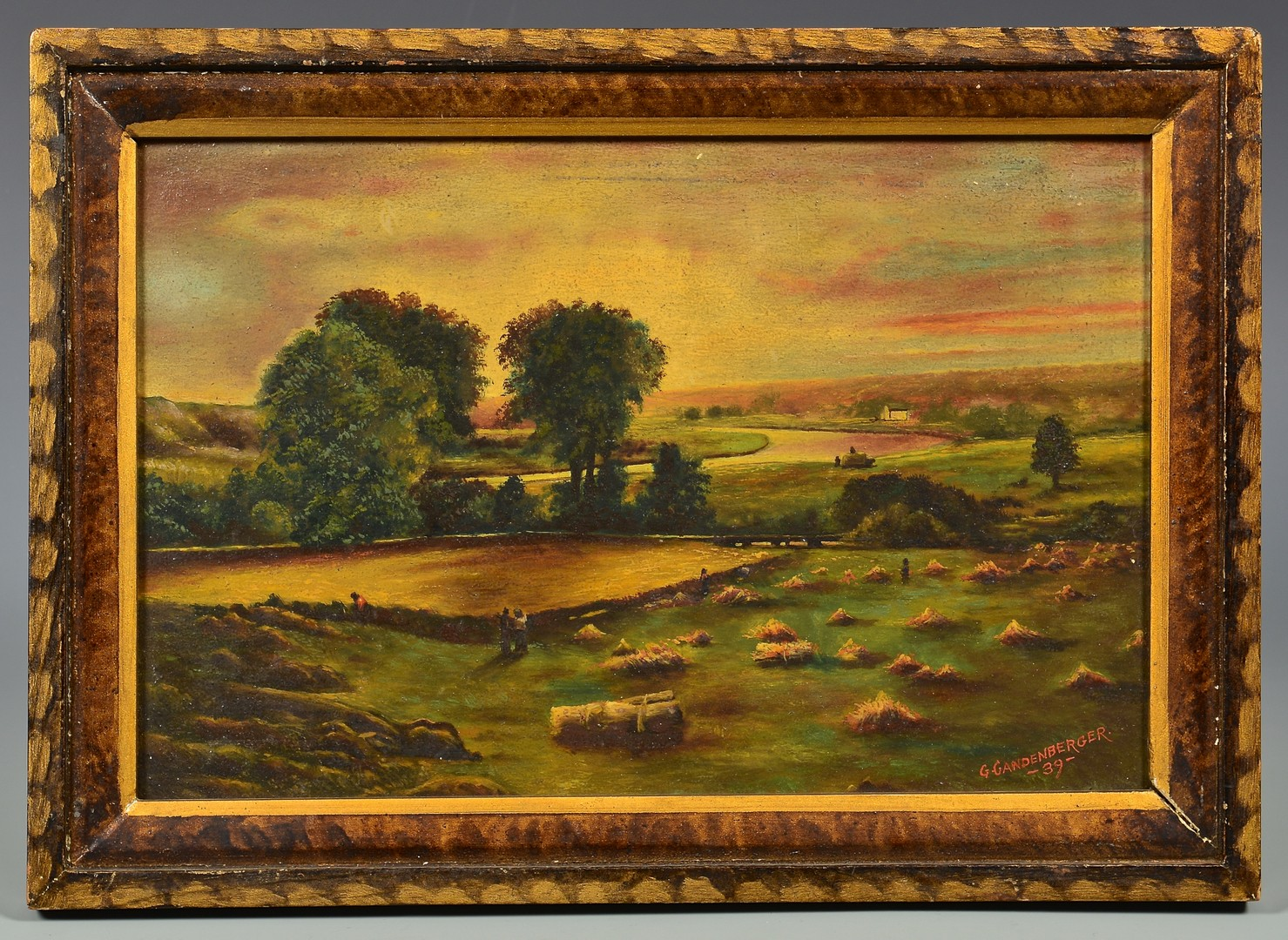 Lot 750: Gandenberger oil on board farm landscape