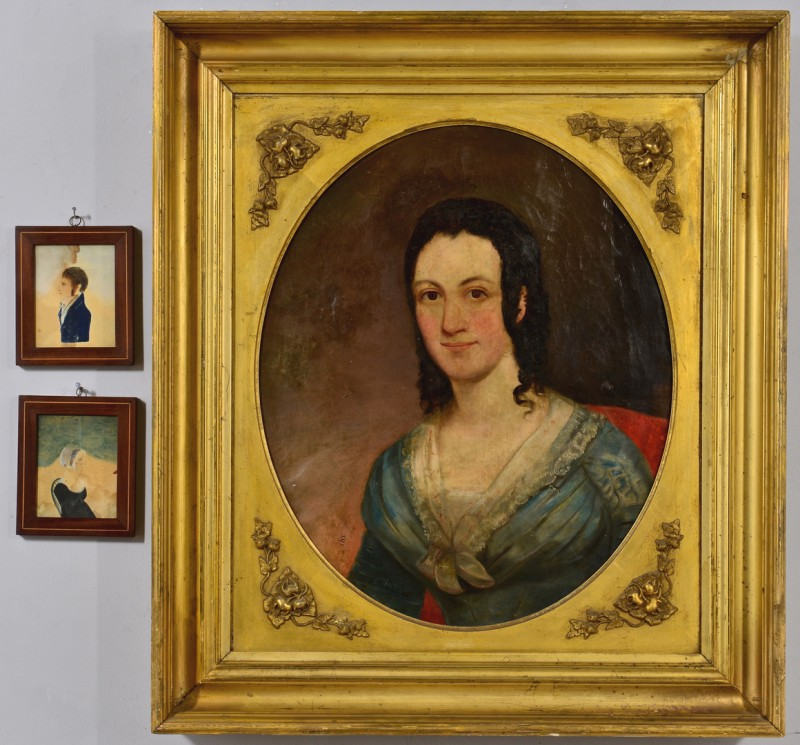 Lot 752: 19th c. Portrait of Young Lady w/ miniatures