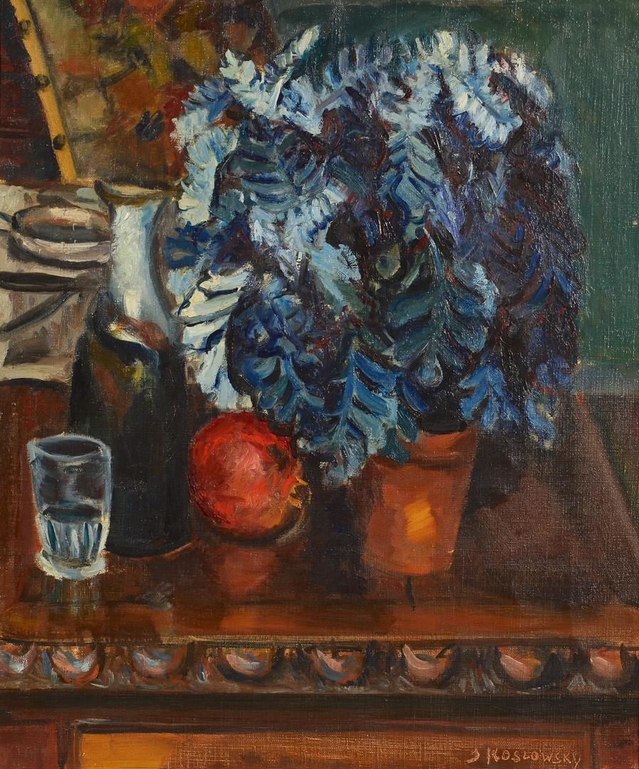 Lot 753: J. Koslowsky o/c, still life with plant and apple