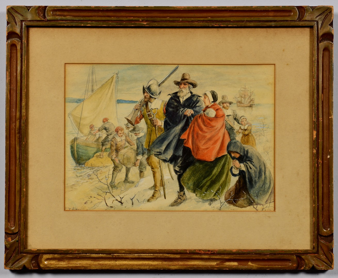 Lot 755: Frank T. Merrill Watercolor on Paper