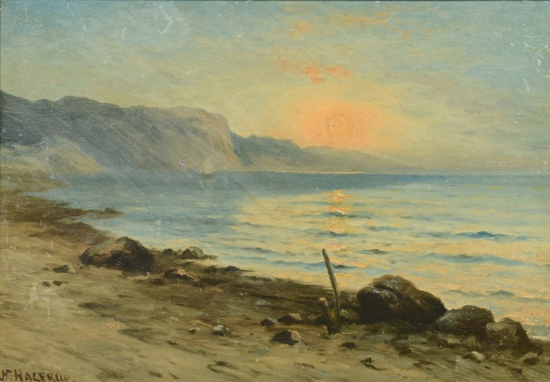 Lot 758: Nels Hagerup Oil on Board Seascape