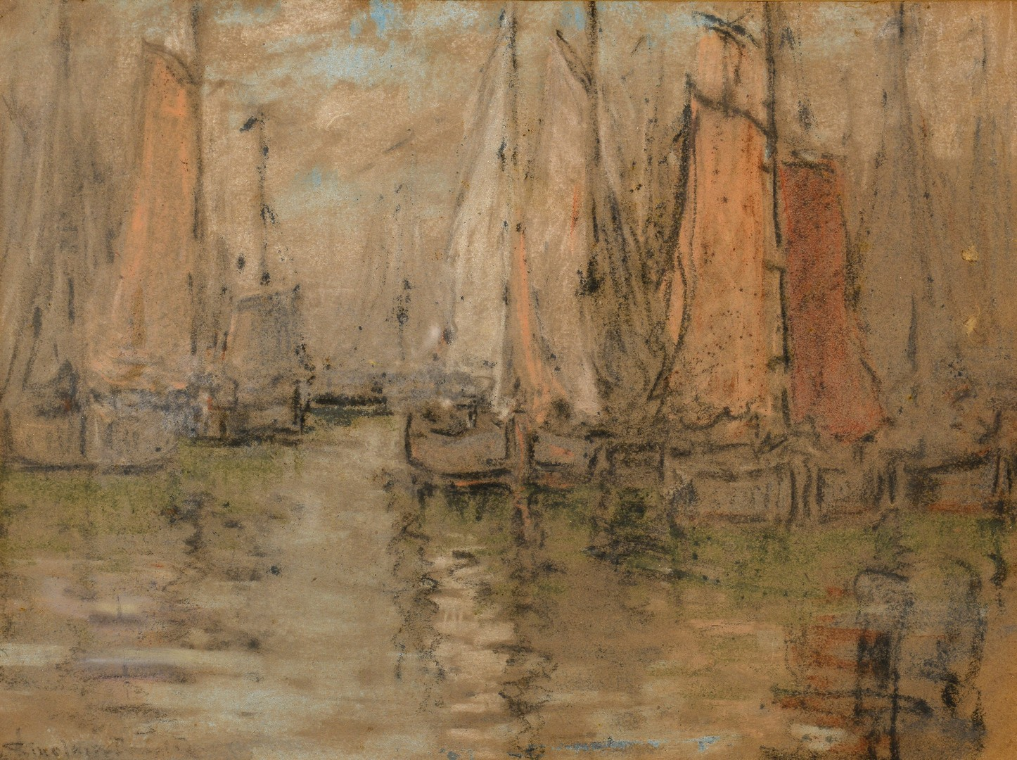 Lot 759: 2 Sailboat Themed Pastel Paintings