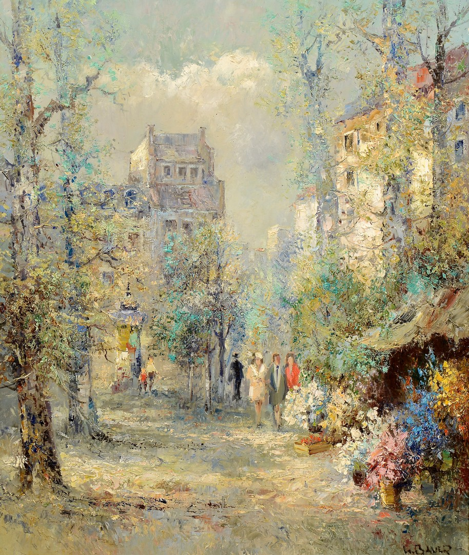 Lot 760: Willi Bauer Oil on Canvas, Flower Market