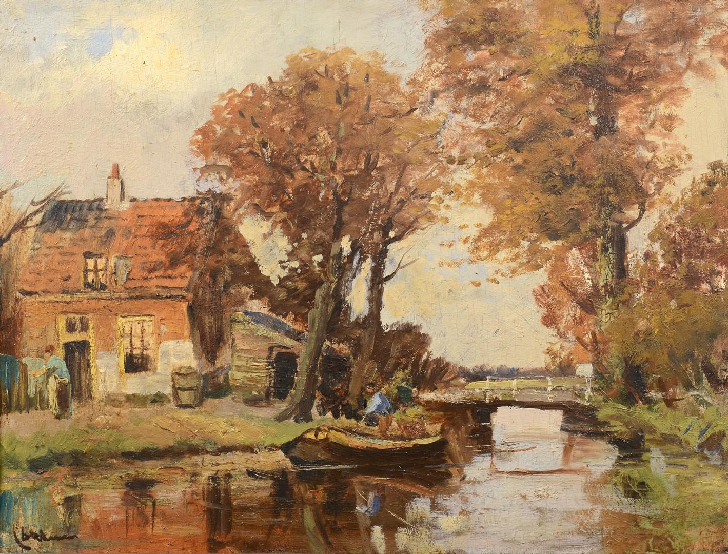 Lot 771: Dutch Oil on board, homestead scene