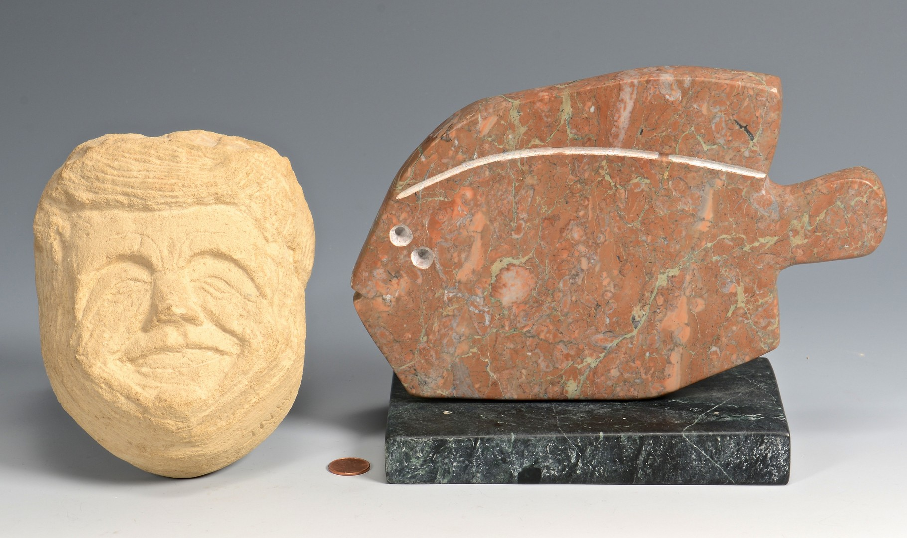 Lot 779: 2 Stone Sculptures, Bill Ralston and JFK Face