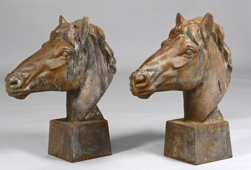 Lot 783: Pair Cast Iron Horse Heads