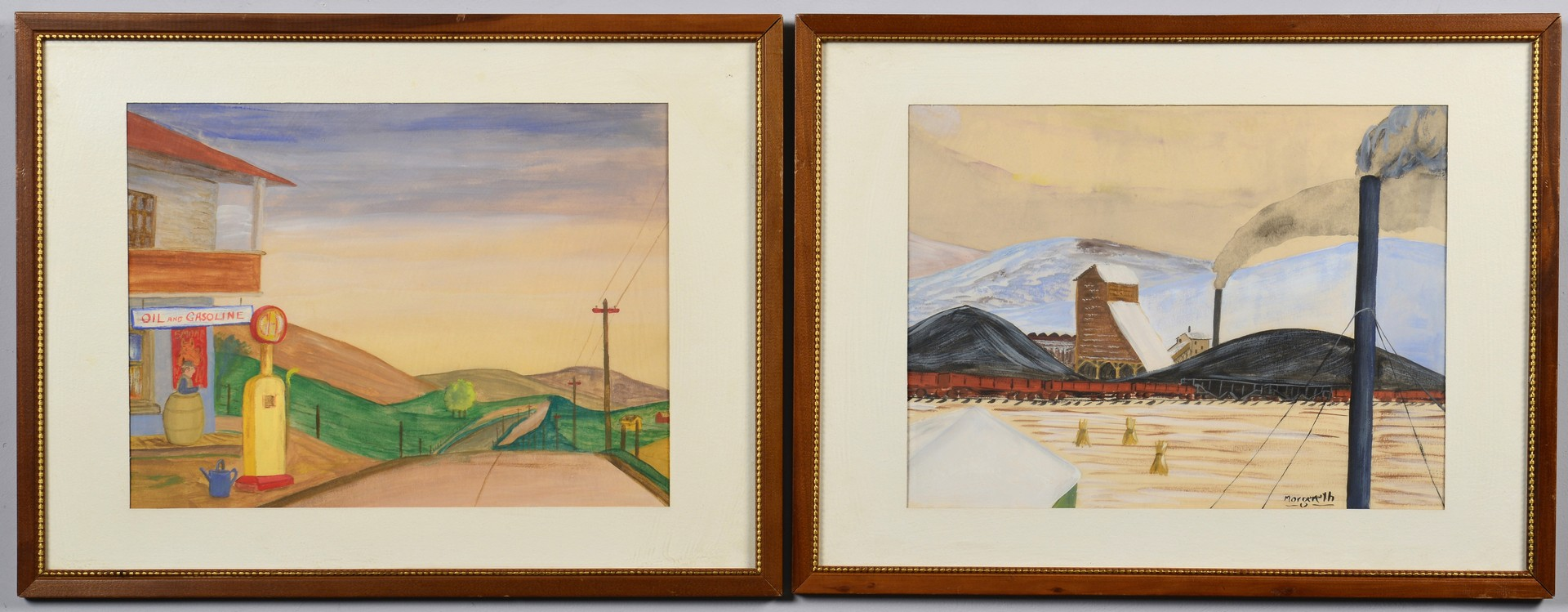 Lot 784: Frank Morgereth, pair of mid-century scenes