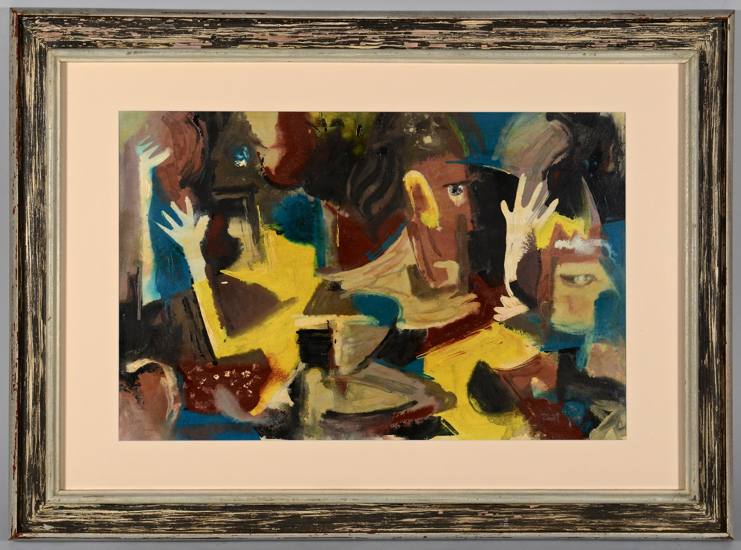 Lot 785: Ted Burnett Mixed Media Abstract Painting