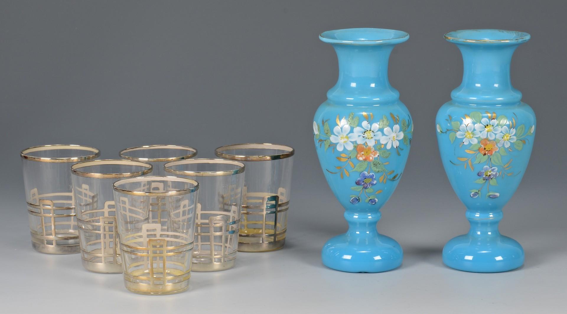 Lot 789: 17 pcs assorted glass: Ruby, Amber, Bristol Blue