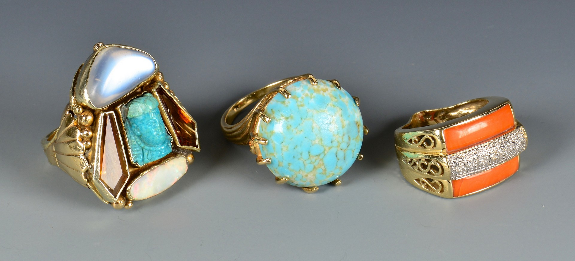Lot 791: Three 14K Fashion Rings
