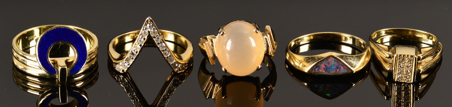 Lot 796: Five 14K Fashion Rings