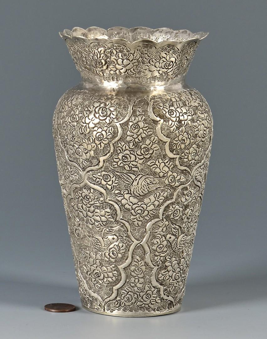Lot 804: Kashmiri or Indian Silver Vase