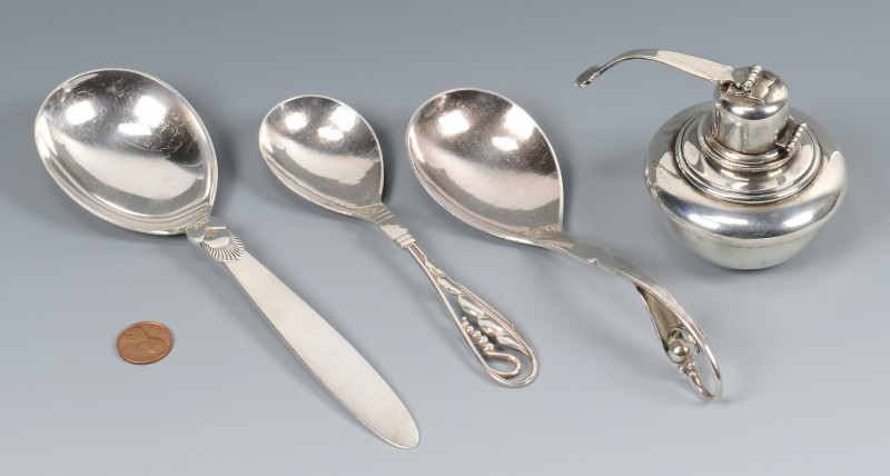 Lot 816: 3 Georg Jenson Sterling Spoons & Tiffany Oil Lamp