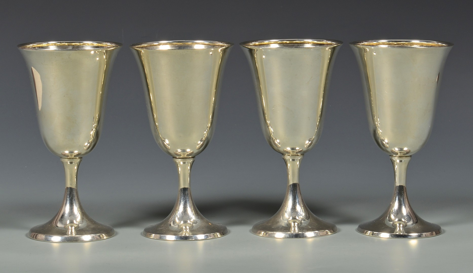 Lot 817: 4 International Sterling Silver Goblets & more