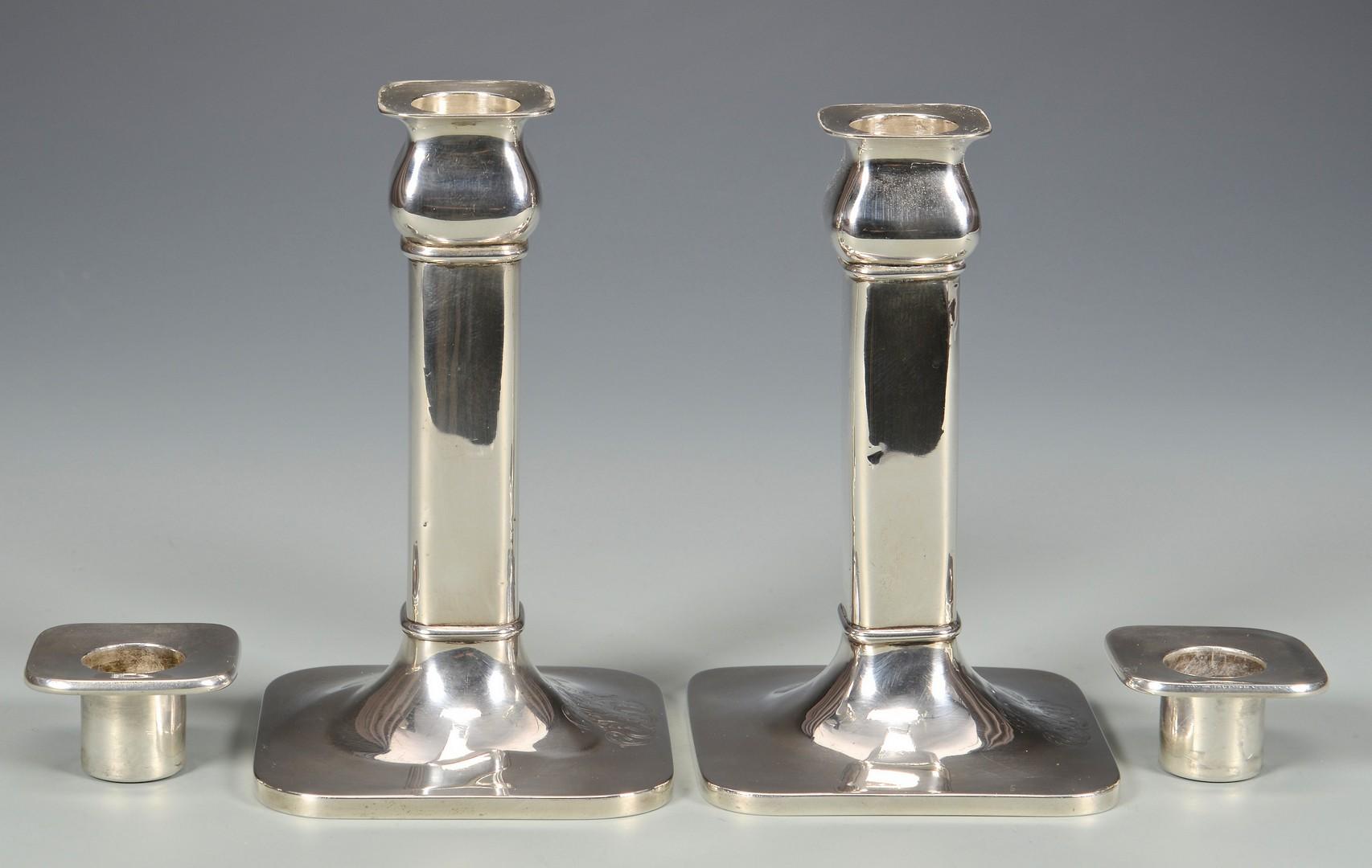 Lot 823: Pr. Arts & Crafts Sterling Candlesticks