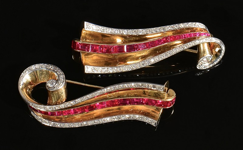 Lot 82: George Headley Diamond Ruby Pins