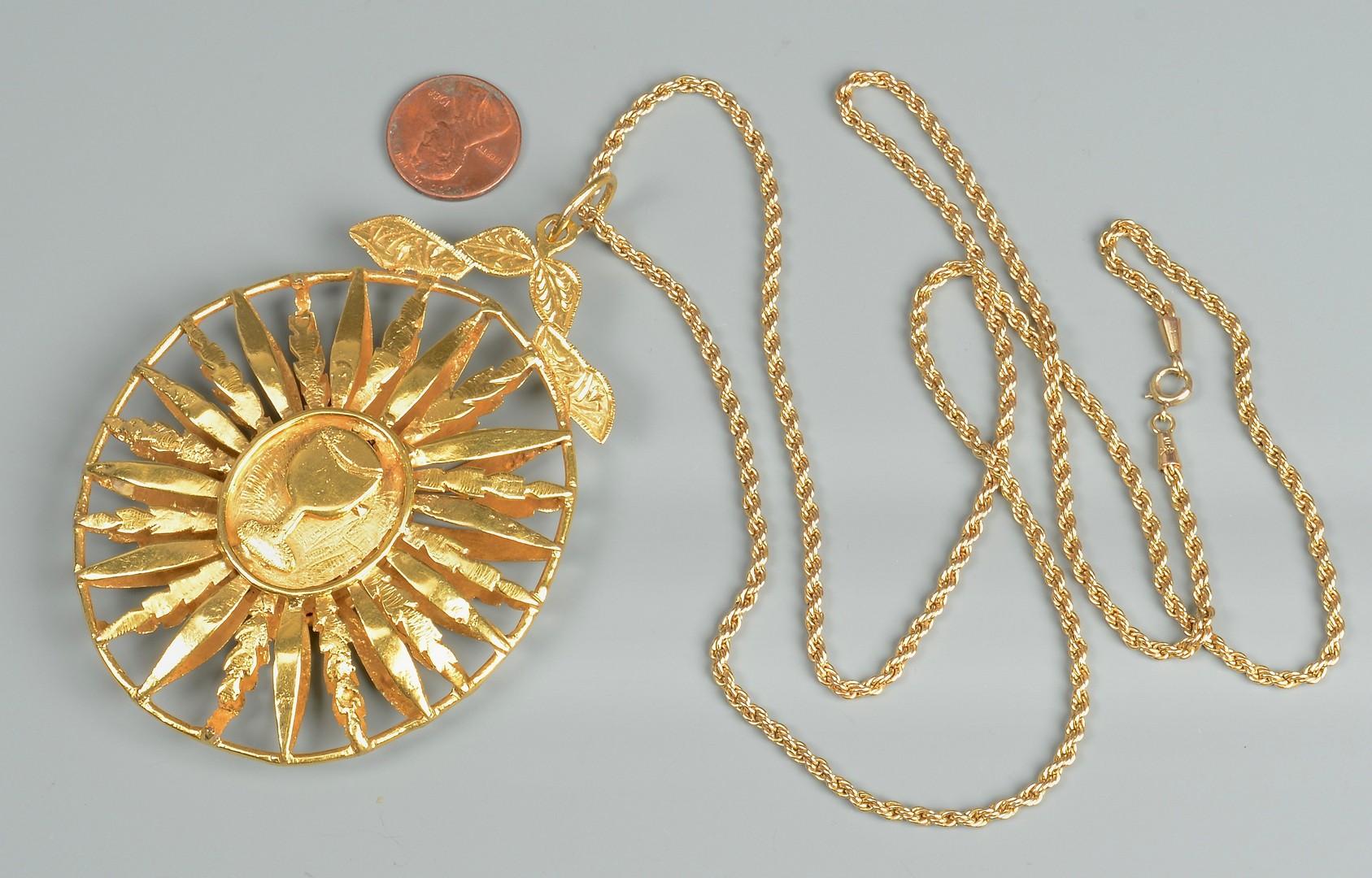 "Lot 83: 18K gold Medallion, 14K 31"" Necklace"
