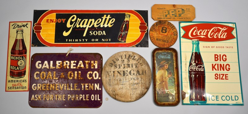 Lot 858: 8 Vintage Advertising Signs inc. TN