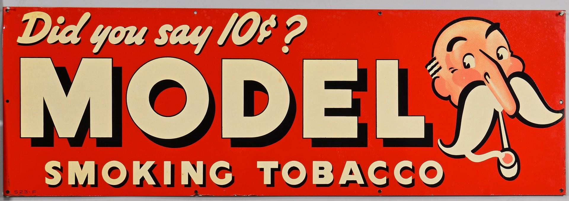 Lot 859: Velvet Tobacco & Model Smoking Tobacco Signs, 2