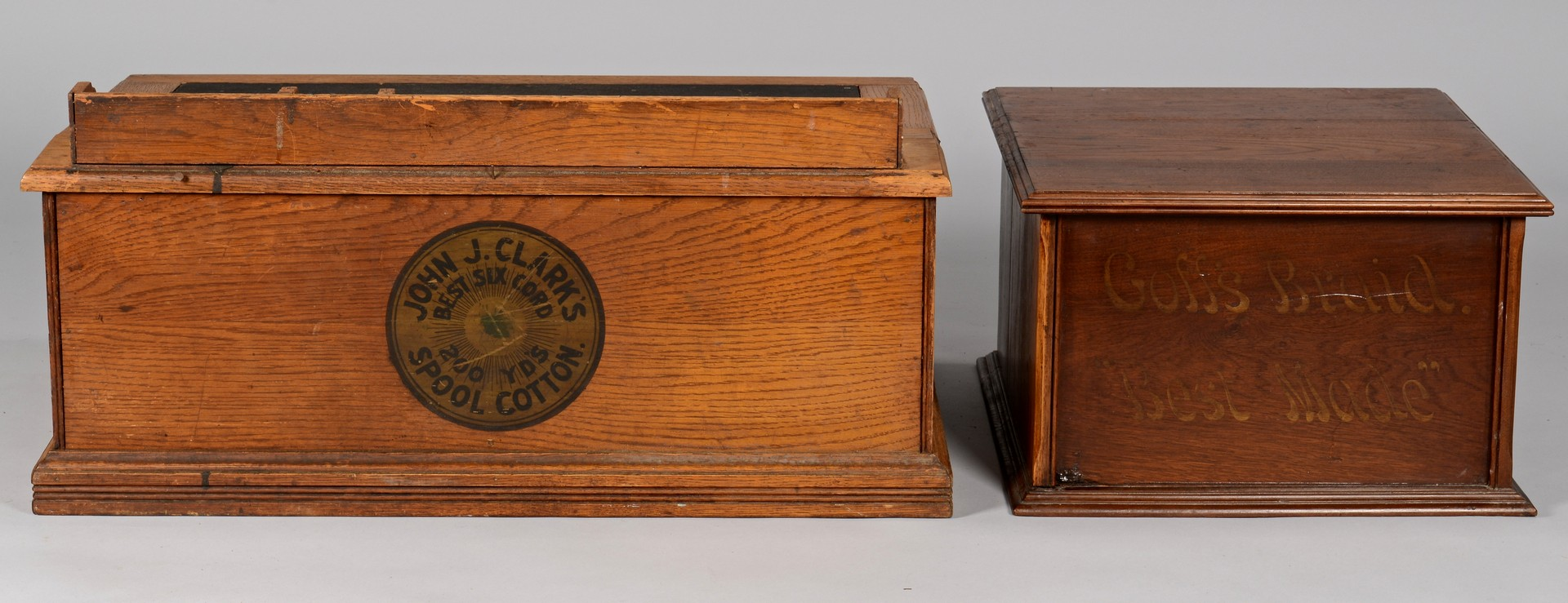 Lot 862: Two (2) Advertising Spool Cabinets, incl. Goff's