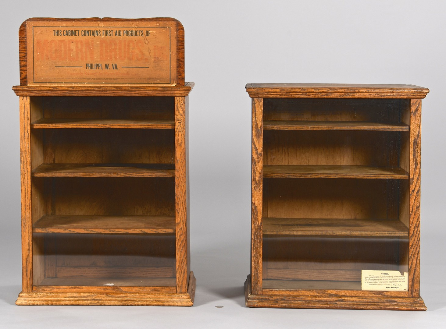 Lot 863: Pair Philippi, WV Advertising Cabinets